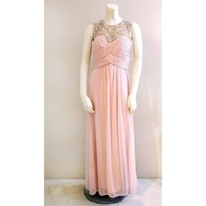 Blush Pink Rhinestone Embellished Formal Gown